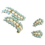 TRIFARI Faux Turquoise & Pearl Bracelet & Earrings Demi-Parure