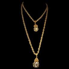 Miriam Haskell Double Strand Rhinestone Drop Pendant Necklace