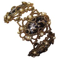 Extra Wide Marblized Cabochon Selro Bracelet