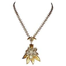 Early Unsigned Pennino Rhinestone Flower Necklace