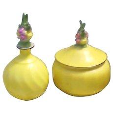 German Porcelain Powder Jar and Perfume Bottle with Dauber