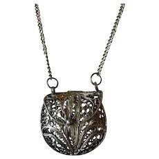 Vintage Miniature Filigree Purse Necklace