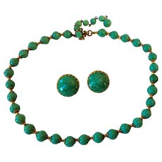 MIRIAM HASKELL Jade Green Art Glass Necklace and Earrings Set