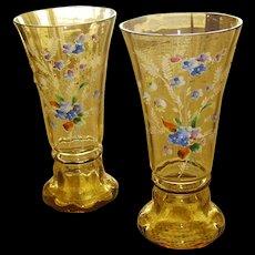 Beautiful Pair of Amber Bohemian Art Glass Vases