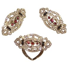 Unsigned Art Deco Rhinestone Earrings & Dress Clip Set