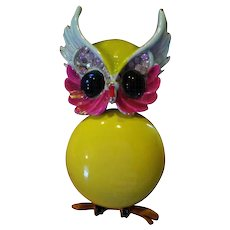 "Signed ""Art"" Enameled Owl Brooch"