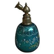 Bohemian Cut Blue Mercury Glass Enameled Perfume Atomizer