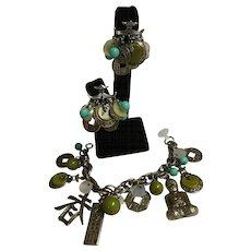 Signed ART Asian Inspired Charm Bracelet & Earrings