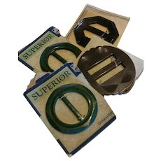 Lot of 4 Vintage Bakelite Buckles NOS