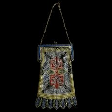 Art Deco Whiting & Davis Enamel Mesh Hand Bag