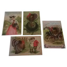 Lot of 4 Vintage Thanksgiving Postcards