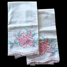 Vintage Embroidery & Crochet Orchid Pillowcases