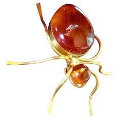 Vintage Russian Baltic Sea Amber Spider Brooch