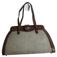 Vintage John Romain Leather & Tweed Handbag