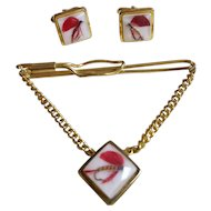 Vintage Fly Fishing Lucite Tie Bar & Cuff Links