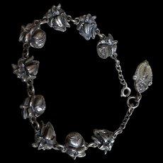 Vintage Roses for Mary Catholic Medal Devotional Bracelet