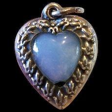 Vintage Repousse Fleur de Lis Stone Puffy Heart Charm