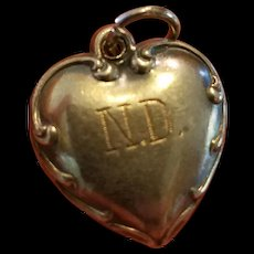 Vintage Sterling Silver Puffy Heart Charm Repousse Border