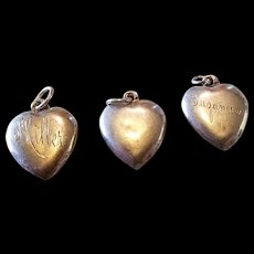 Lot of 3 Simple Sterling Puffy Heart Charms Engraved