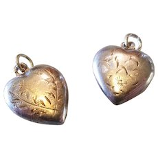 Lot of 2 Etched Design Sterling Puffy Heart Charms
