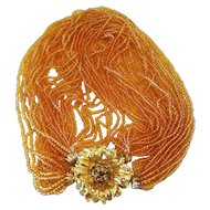 Vintage 32 Strand Glass Seed Bead Torsade Necklace with Rhinestone Clasp