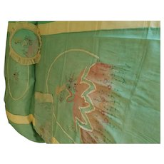 French 1920s Boudoir Embroidered Lady Set Bedspread, Pillow & Runner