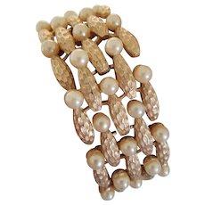 Vintage Trifari Wide Faux Pearl Bracelet