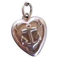 Vintage Sterling Silver Puffy Heart Charm with Anchor