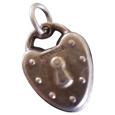 Vintage Mini Sterling Padlock Puffy Heart Charm