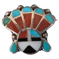 Vintage Zuni Inlay Sunface Pin