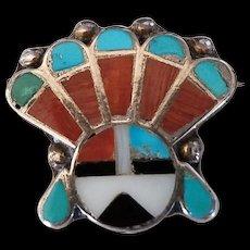 Vintage Zuni Inlay Sunface Pin