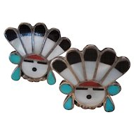 Vintage Zuni Inlay Sunface Clip Earrings