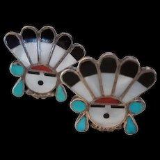Vintage Zuni Inlay Sunface Clip Earrings