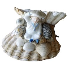 Victorian Shell Art Bisque Boy Seashore Souvenir