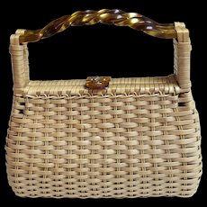 Vintage Lucite & Straw Wicker Purse SIMON