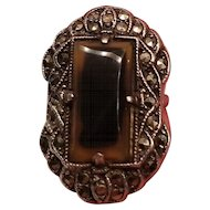 Art Deco Sterling, Marcasite & Moss Agate Ring size 4