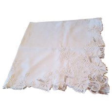 Beautiful Heavily Embroidered White Linen Tablecloth 51x52
