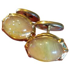 Vintage Glass Yellow Dragon's Breath Jelly Opal Cuff Links
