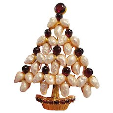 Swoboda Fresh Water Pearl and Garnet Christmas Tree Pin