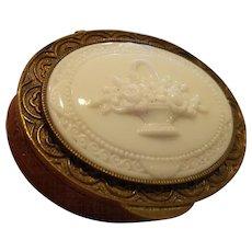 Beautiful French Brass Dresser Box w/ Molded Glass Flower Basket