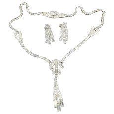 Phyllis Sterling & Rhinestone Lavalier Necklace & Earrings Set