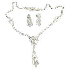 Phyllis Sterling & Rhinestone Lavalier Necklace & Earrings Set