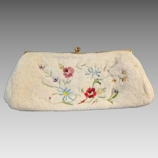 French Beaded Tambour Clutch Purse