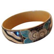 Art Deco Carved & Painted Celluloid Bangle Bracelet