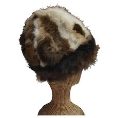Vintage Variegated Fur Patch Work Hat by Madcaps