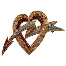 Vintage Florenza Valentine Heart Brooch Ruby Red Rhinestones & Faux Turquoise Signed