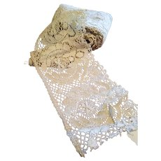Vintage Ivory  Hand Made Lace Trim 4 1/2 inches Wide