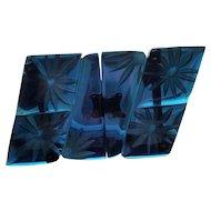 Bakelite Reverse Carved Translucent Blue Prystal Buckle