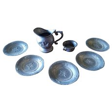 Set of Old Miniature Metal Doll House Dishes 7 Pieces
