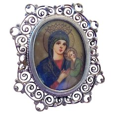 Hand Painted Portrait Brooch or Pendant 800 Silver Our Lady of Perpetual Help
